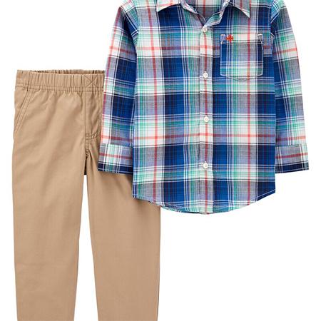 Conjunto 2 piezas pantalón y camisa manga larga niño 24m Carters