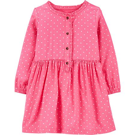 Vestido Rosado diseño de puntos con botones 18m Carters