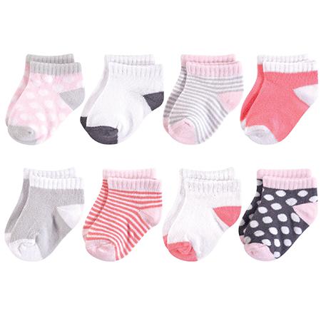 8 pk medias niña 6-12 meses rosa /gris