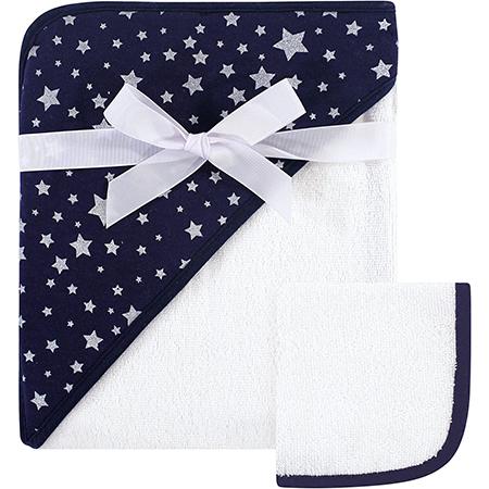 Toalla con capucha Azul marino con Estrellas plateadas