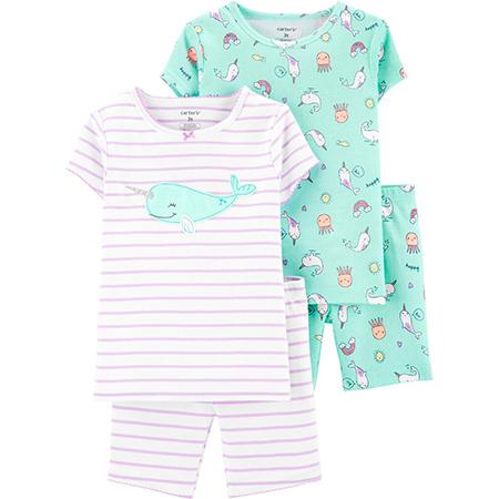 Pijama 4 piezas m/c animales marinos niña 12 meses carter´s
