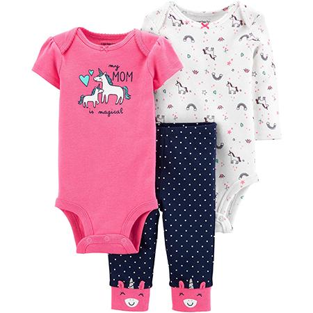 Set 3 piezas carter´s unicornio niña 12 meses