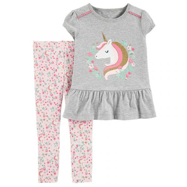 Conjunto De Leggings Floral y camisa De Unicornio niña NB meses Carter´s