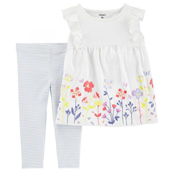Blusa M/C Floral blanco y Leggins niña 9 meses Carter´s
