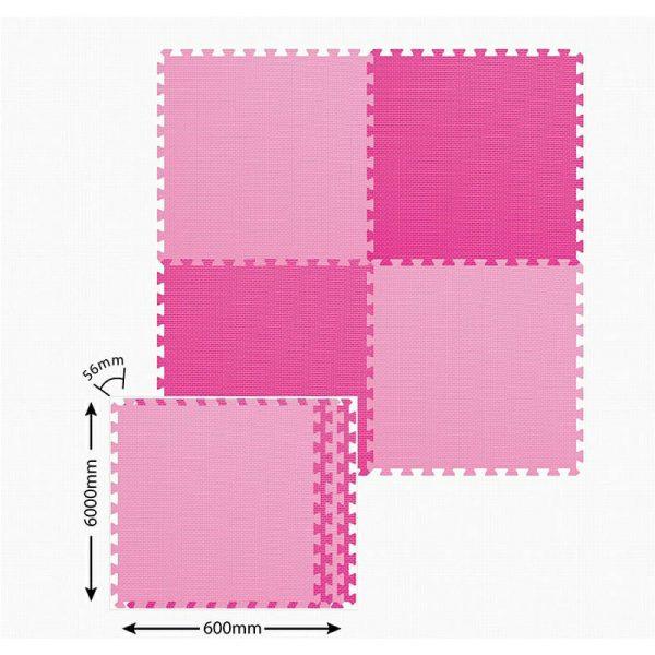 Alfombra rompecabezas 4 pzas color rosa.