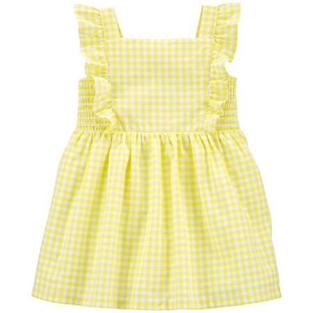 Vestido S/M amarillo a cuadros con calzón niña 6M Carter´s