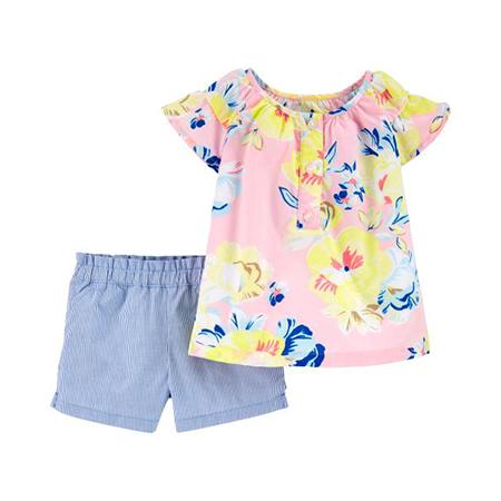 Blusa M/C floral y short niña 9M Carter´s