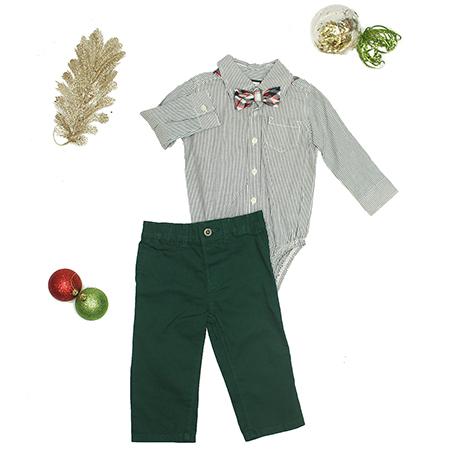 Enterizo M/L con cuello con pantalón verde 12 M Carter´s