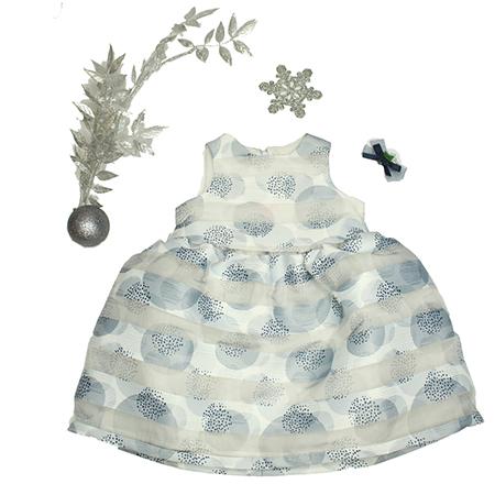 Vestido S/M color gris/blanco niña 18 M