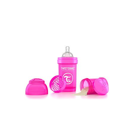 Biberón anticólico 6 onzas color Rosa Twistshake