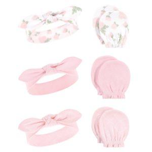 Juego de manoplas y diadema de algodón  Rosas y gris Niña 0-6 M