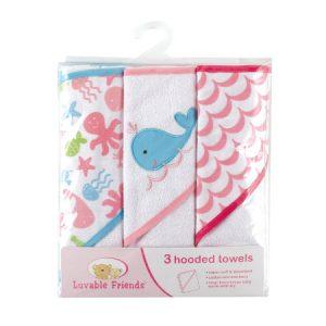 Luvable Friends – Set de 3 Toallas con capucha de felpa de algodón  rosa