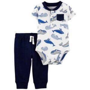 Enterizo de Ballenas azules y pantalón para Niño 24M