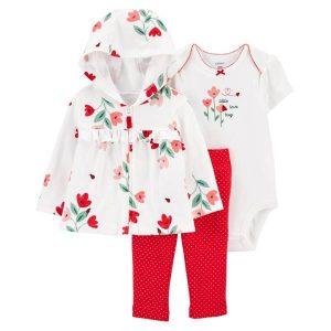 Conjunto De abrigo con capucha , pantalón y Enterizo Floral Niña 9M