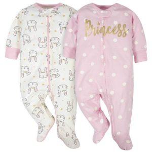 Set de 2 pijamas m/l de Princesa y Conejitos  Niña 0-3 M